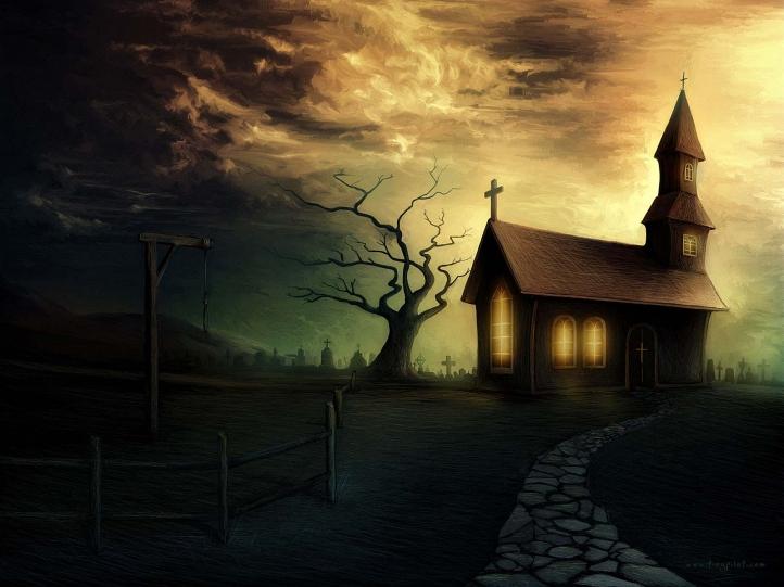 Eglise sombre fond écran wallpaper