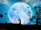 fond écran Femme dans la lune