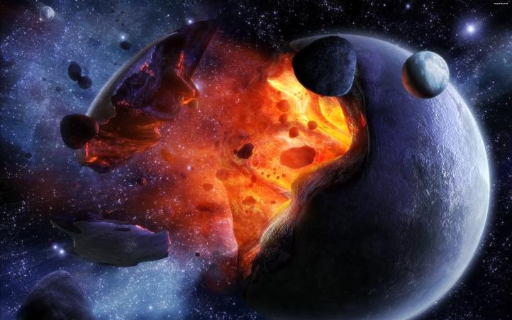 explosion planète fond écran wallpaper
