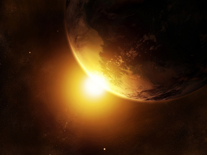 Planète crépuscule fond écran wallpaper