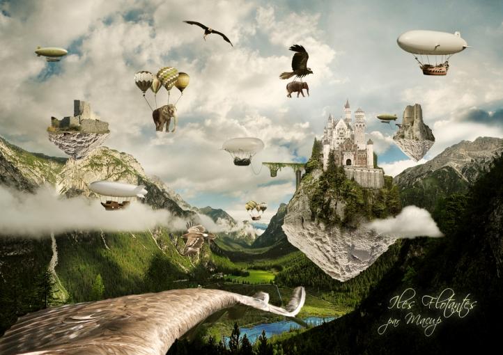 iles flotantes fond écran wallpaper