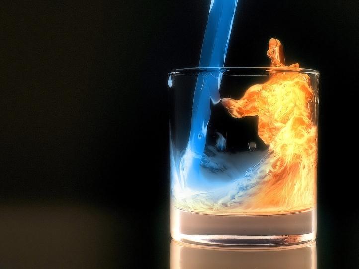verre eau/feu fond écran wallpaper
