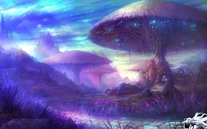 Maisons-champignons fond écran wallpaper