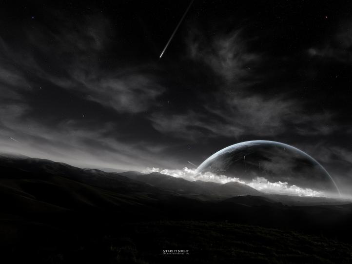 Black Starlit night fond écran wallpaper