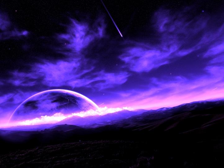 Purple Starlit night fond écran wallpaper