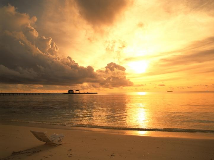 coucher de soleil sur plage fond écran wallpaper