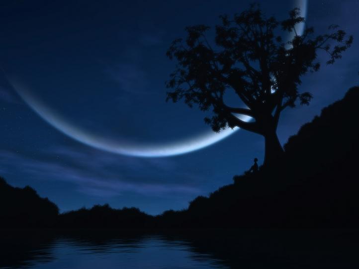 Nuit lunaire fond écran wallpaper